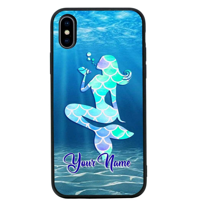 Apple iPhone XS Max Personalised Name Case Glass Cover / Mermaids I-Choose Ltd