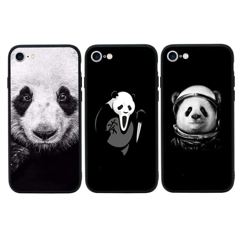Copy of Glass Case Phone Cover for Apple iPhone 8 / Black & White Panda I-Choose Ltd