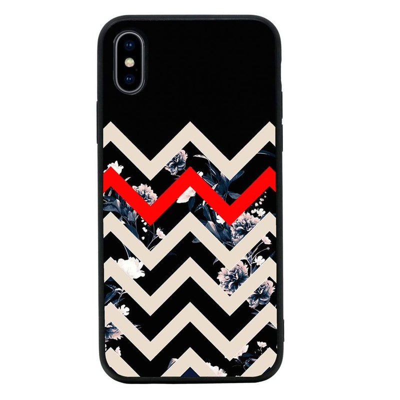 Glass Case Phone Cover for Apple iPhone X XS 10 / Chevron Block I-Choose Ltd