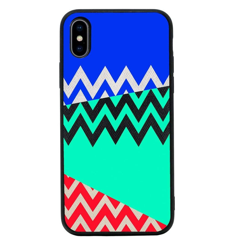 Glass Case Phone Cover for Apple iPhone XR / Chevron Block I-Choose Ltd