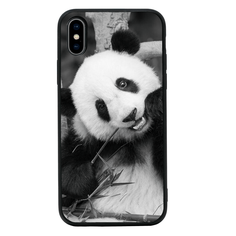 Glass Case Phone Cover for Apple iPhone XR / Panda Cub Black and White I-Choose Ltd