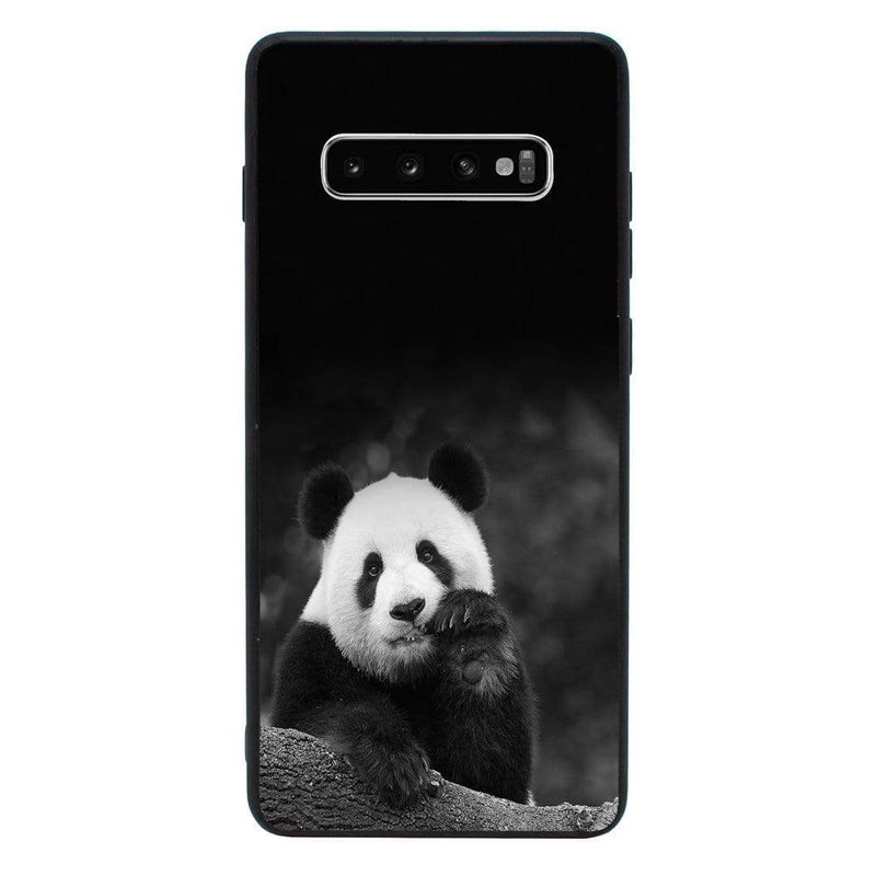 Glass Case Phone Cover for Samsung Galaxy S10 / Panda Cub Black & White