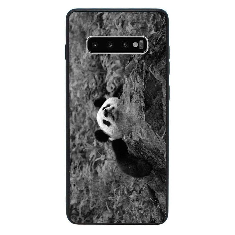 Glass Case Phone Cover for Samsung Galaxy S10 / Panda Cub Black & White I-Choose Ltd