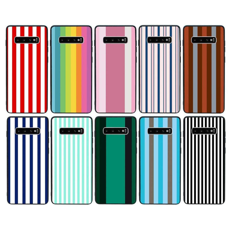 Glass Case Phone Cover for Samsung Galaxy S10 Plus / Vertical Stripes