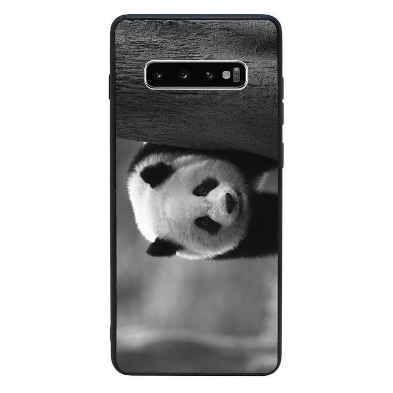 Glass Case Phone Cover for Samsung Galaxy S10E / Panda Cub Black & White I-Choose Ltd