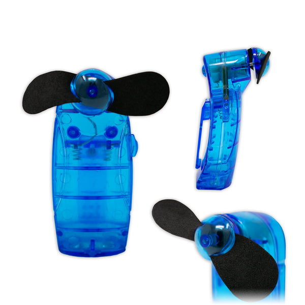 Portable Handheld Mini Electric Fan in Blue Battery Powered I-Choose Ltd