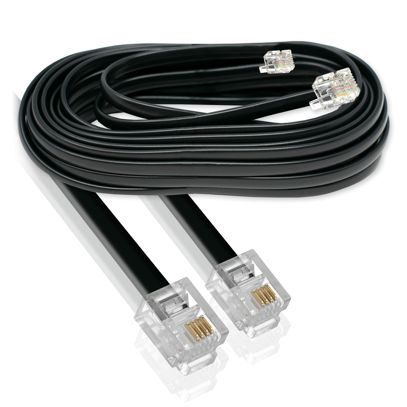 RJ11 Plug to Plug ADSL Modem Cable 6P4C Black 3m I-Choose Ltd