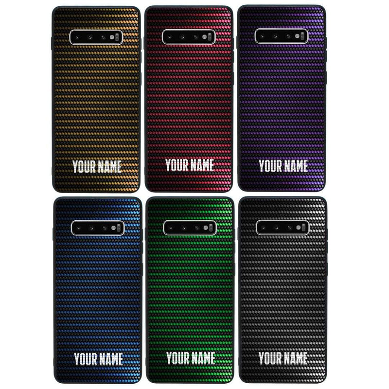 Samsung Galaxy S10 Personalised Name Case Glass Cover / Carbon Fibre I-Choose Ltd