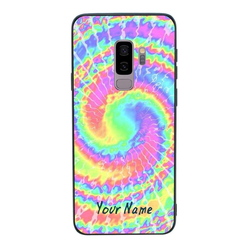 Samsung Galaxy S9 Personalised Name Case Glass Cover / Hippy