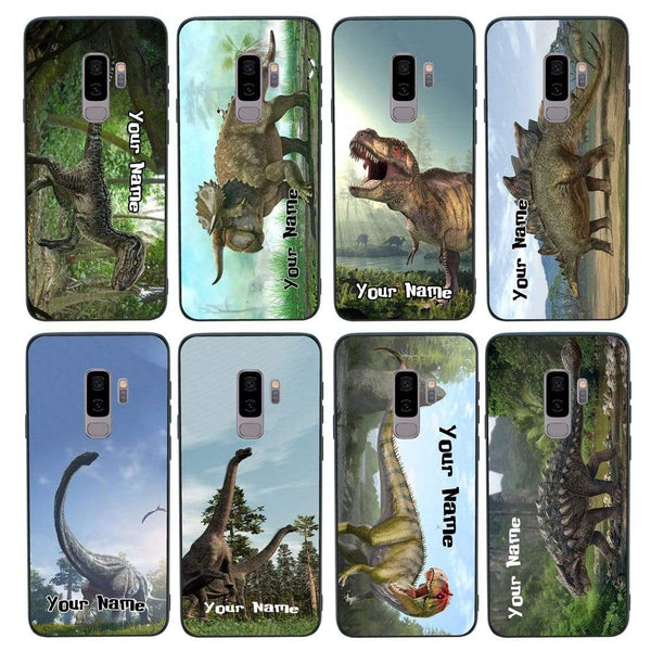 Samsung Galaxy S9 Plus Personalised Name Case Glass Cover / Dinosaur I-Choose Ltd