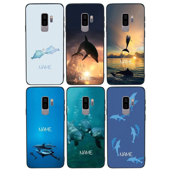 Samsung Galaxy S9 Plus Personalised Name Case Glass Cover / Dolphins I-Choose Ltd