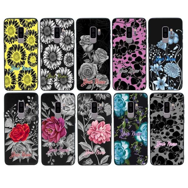 Samsung Galaxy S9 Plus Personalised Name Case Glass Cover / Floral Bloom I-Choose Ltd