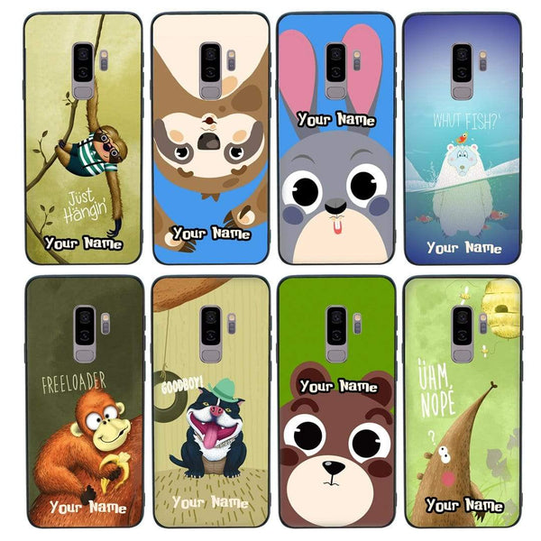 Samsung Galaxy S9 Plus Personalised Name Case Glass Cover / Funny Animal Quips I-Choose Ltd