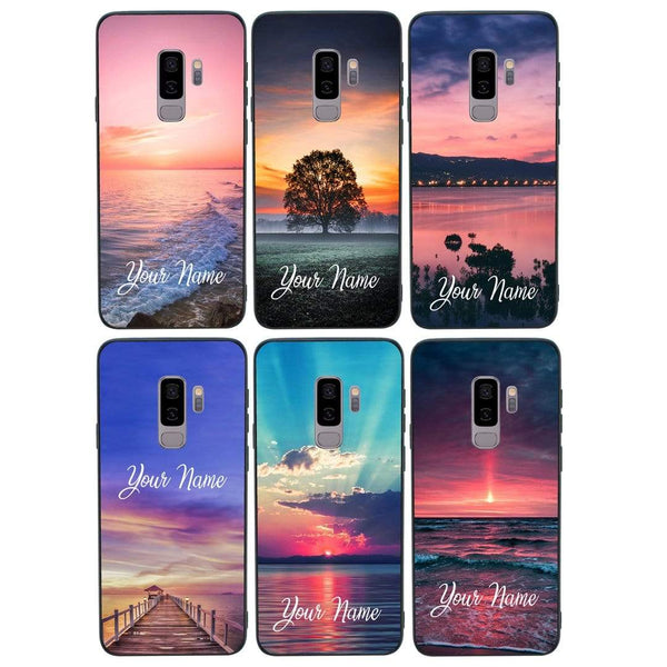 Samsung Galaxy S9 Plus Personalised Name Case Glass Cover / Sunset Rise I-Choose Ltd