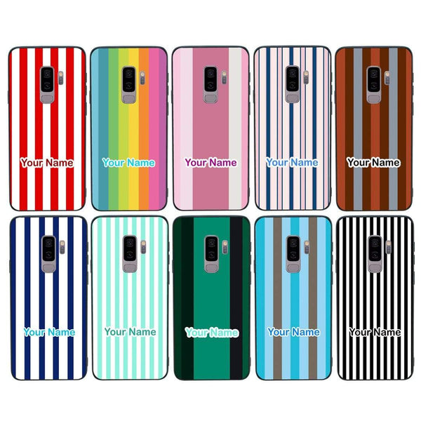 Samsung Galaxy S9 Plus Personalised Name Case Glass Cover / Vertical Stripes I-Choose Ltd