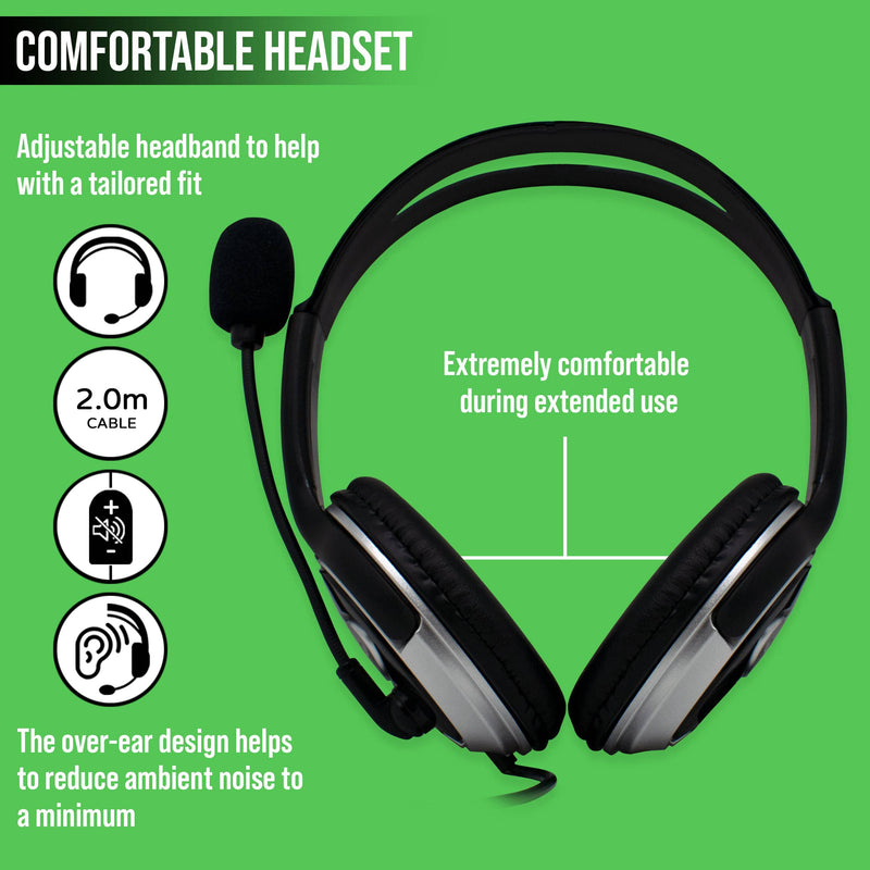 F18BITZ USB Headset with Microphone | In-Line Controls | PC Laptop Computer iChoose Bitz