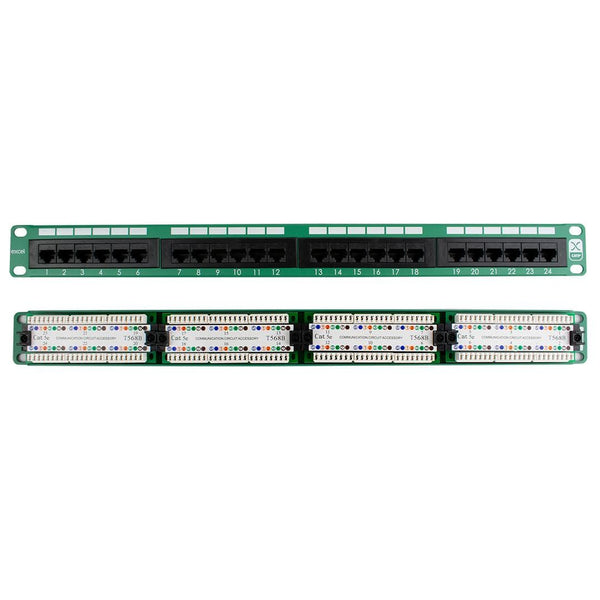 Excel Cat5e 100-452 24-Port Patch Panel 1U for Data Cabinet Green iChoose Ltd