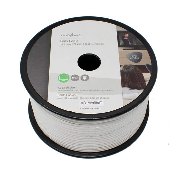 Nedis CSBR4005WT1000 Mini RG6 Coaxial Cable PVC White 100m Reel iChoose Ltd