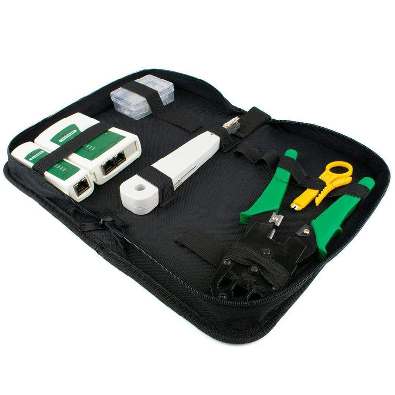 Networking RJ45 Connectors Crimper Cable Tester Punch Down Stripper Tool Case iChoose Ltd