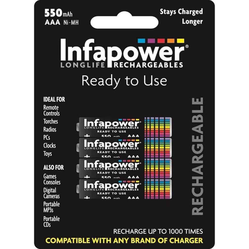 Infapower AAA Rechargeable Batteries Pack of 4 Ni-MH 550mA Infapower