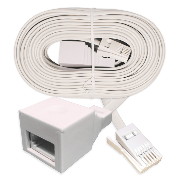 BT 4P4C Telephone Extension Lead White Household Cable 15m KAUDEN