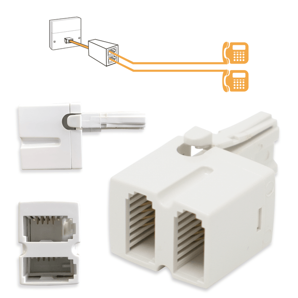 BT Telephone Double Adapter 4 Wire Two-Way Socket White KAUDEN