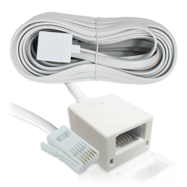 BT Telephone Extension Lead 6-Wire (6P6C) Cable White 10m KAUDEN