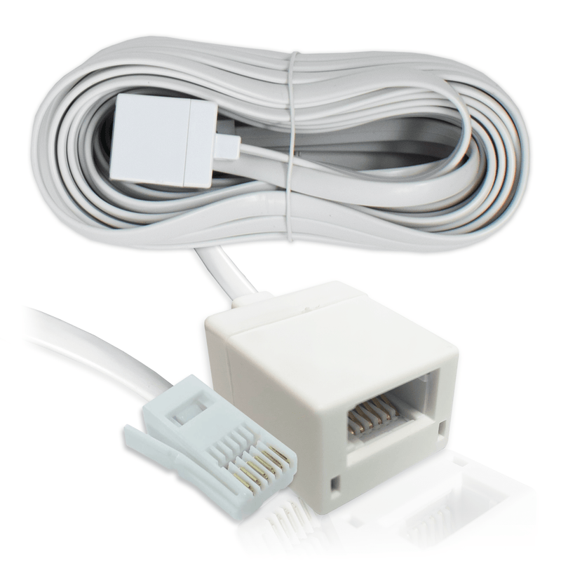 BT Telephone Extension Lead 6-Wire (6P6C) Cable White 5m KAUDEN