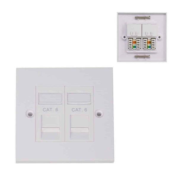 KAUDEN CAT6 RJ45 Double Wall Network Faceplate Module KAUDEN