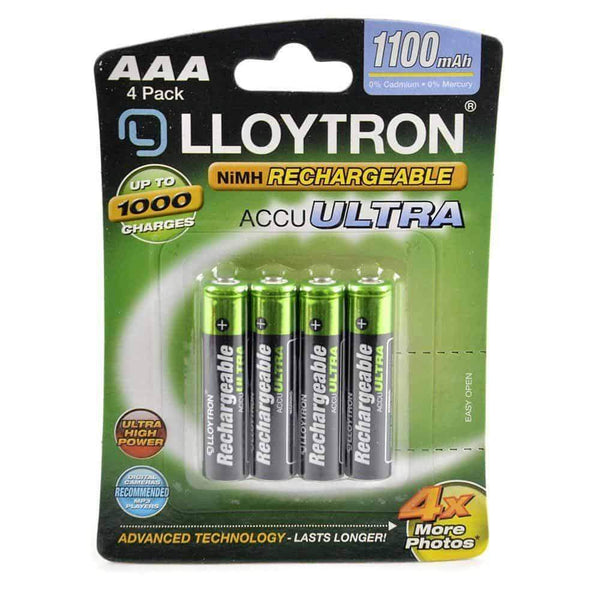 Lloytron AAA Rechargeable Batteries Ni-MH 1100mA Pack of 4 Lloytron