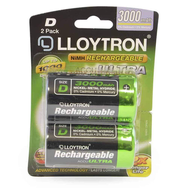 Lloytron D Rechargeable Batteries Ni-MH 3000mA Pack of 2 Lloytron
