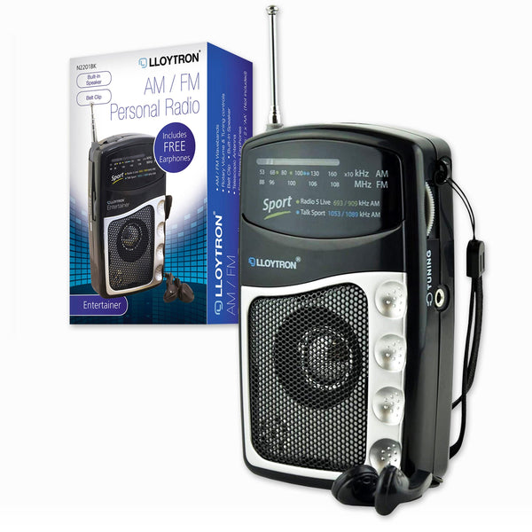 Lloytron N2201BK AM/FM Entertainer Portable Personal Radio Lloytron