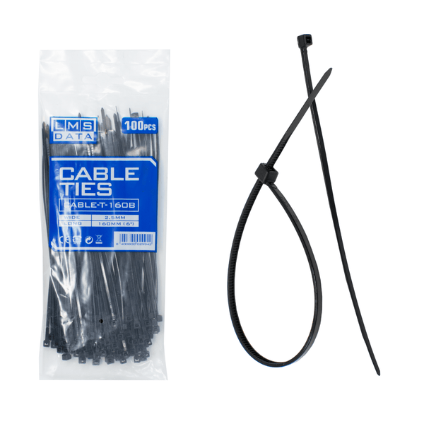 Pack of 100 LMS Data Flexible Cable Ties 160mm x 2.5mm Black LMS Data