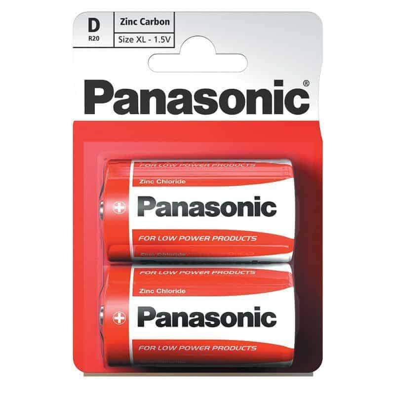 Panasonic D Batteries Zinc Carbon R20RZ Pack of 2 Panasonic