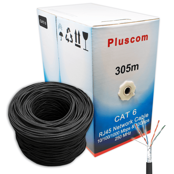 Pluscom FTPG305M-B Cat6 Network AWG23 FTP CCA 305m Cable Black Pluscom