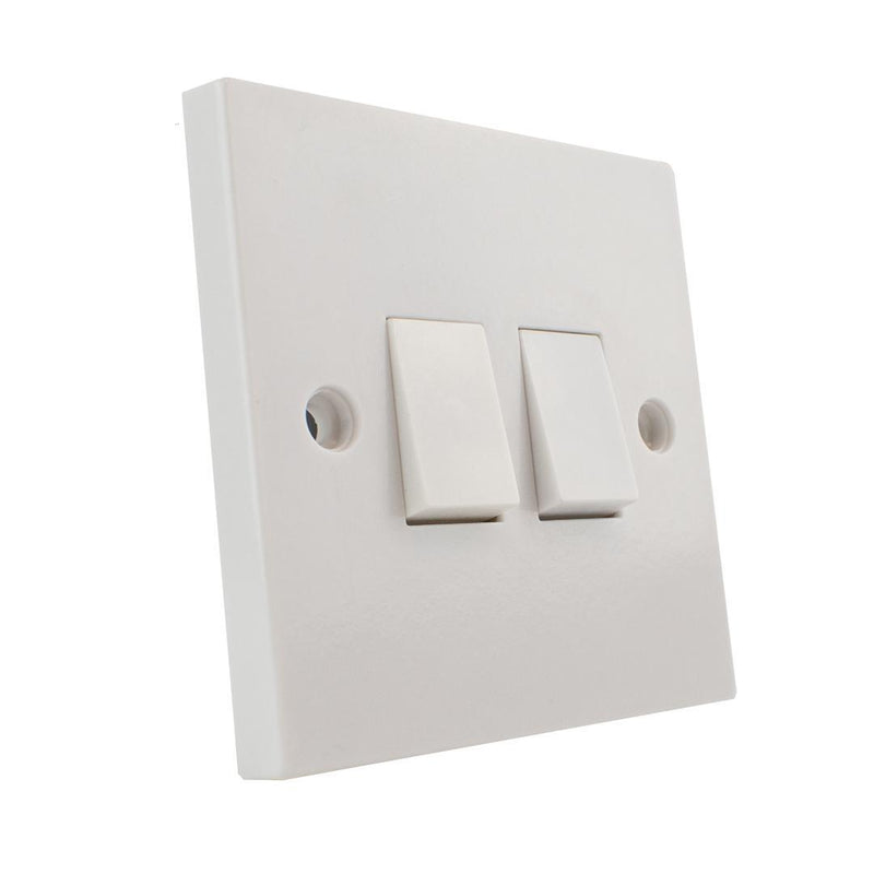 Pro-Elec 202 Double Socket Light Switch Cover 2 Way Wall Plate Pro Elec