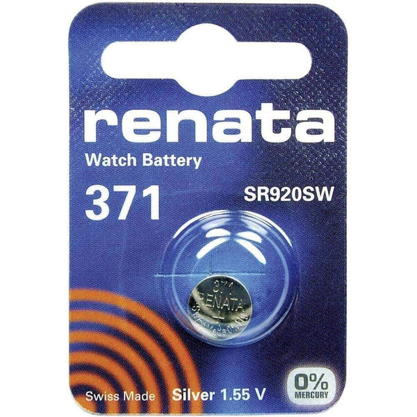 Renata 371 (SR920SW) Coin Watch Battery Silver Oxide 1.55V Renata