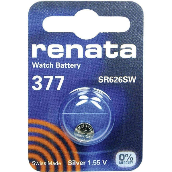 Renata 377 (SR626SW) Coin Watch Battery Silver Oxide 1.55V Renata