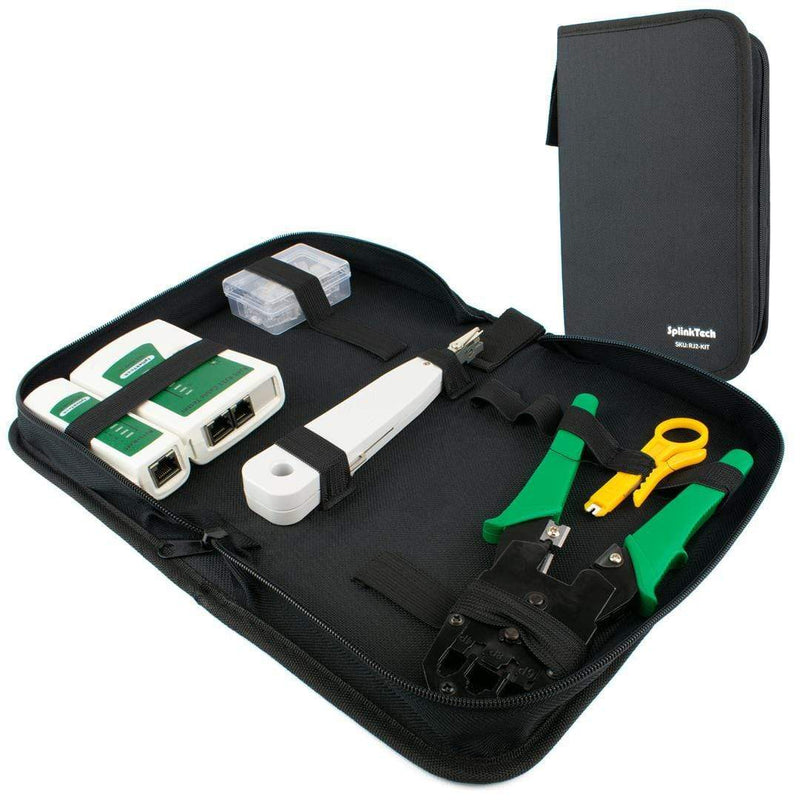 Networking RJ45 Connectors Crimper Cable Tester Punch Down Stripper Tool Case Splinktech