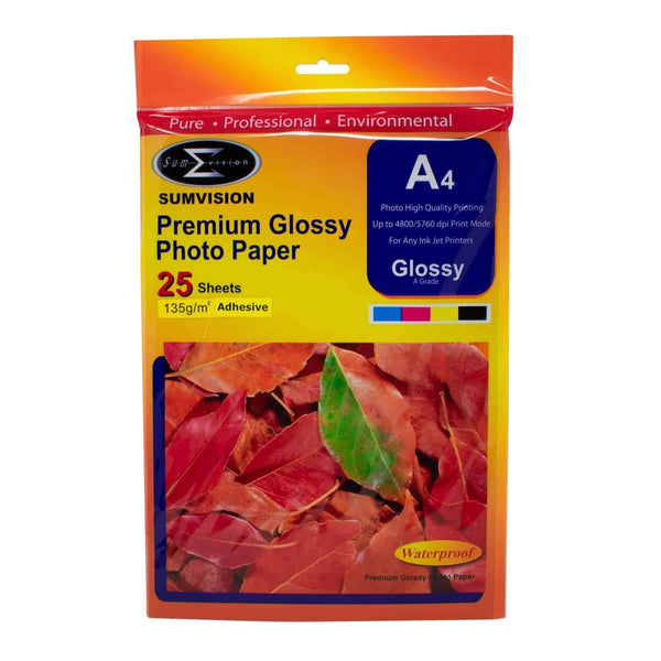 A4 Sumvision Photo Paper 135gm Glossy Adhesive 25 Sheet Pack Sumvision