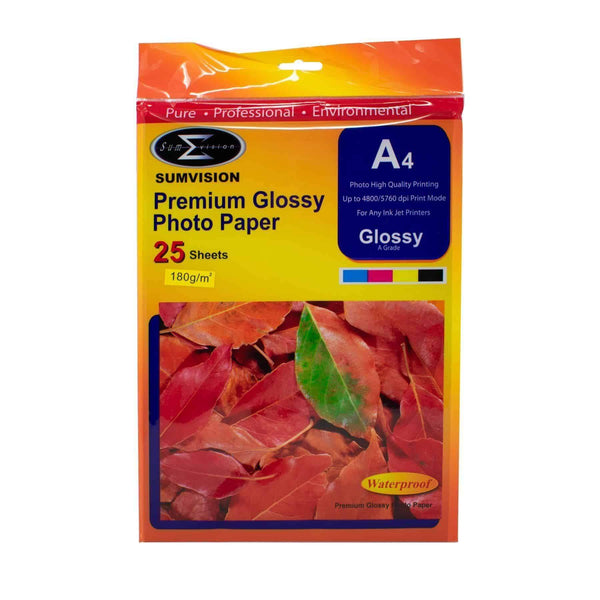 A4 Sumvision Photo Paper 180gm Glossy 25 Sheet Pack Sumvision