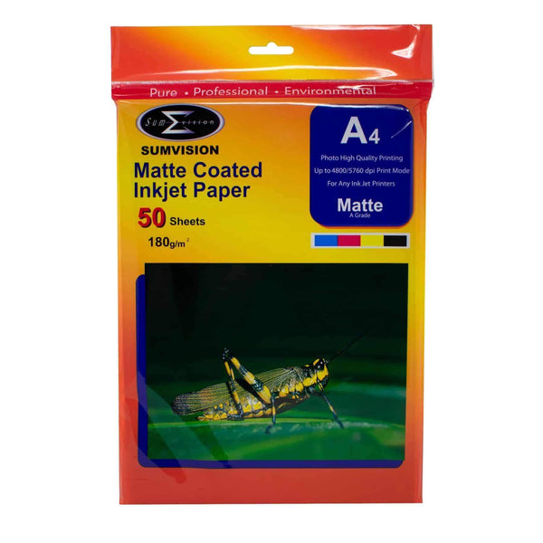 A4 Sumvision Photo Paper 180gm Matt 50 Sheet Pack Sumvision