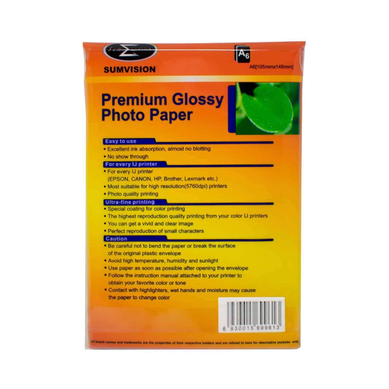 A6 Sumvision Photo Paper 180gm Glossy 25 Sheet Pack Sumvision
