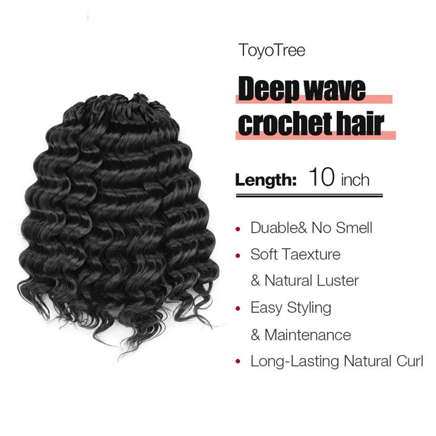 Toyotress Deep Wave Crochet Hair Pre-Looped  Natural Black Deep Wave Crochet Braids Synthetic Hair Extensions