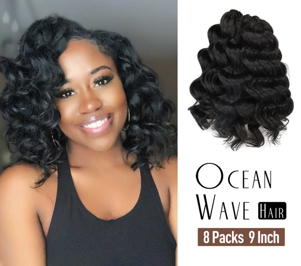 Toyotress Ocean Wave Crochet Hair Pre-Looped 9 Inch Ocean Wave Crochet Braids Synthetic Hair Extensions