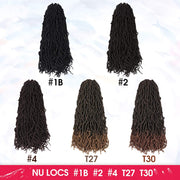 Nu Faux Locs Crochet Braids Hair Knotless Style  Most Natural Faux Locs Crochet Braid  Goddess Curly Wavy Twist Crochet Synthetic Braiding Hair Extensions