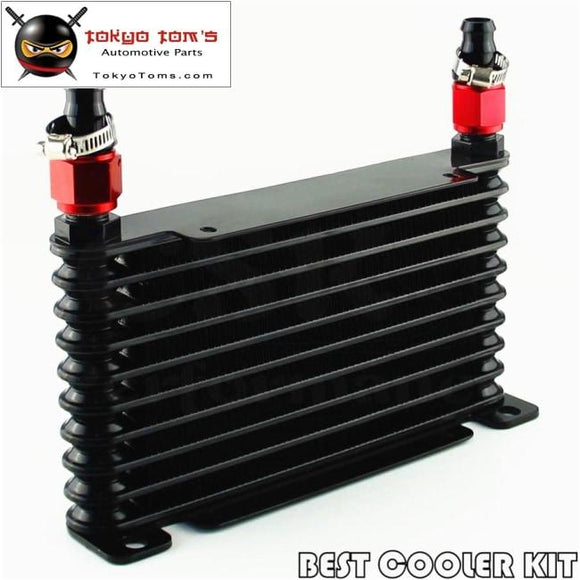 0-An 32Mm 10 Row Engine/transmission Racing Coated Aluminum Oil Cooler+Fitting Oil Cooler