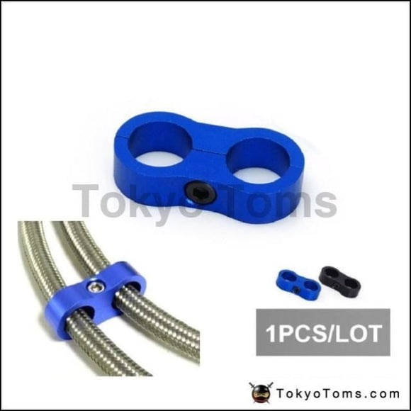1 Blue Universal -An 10 Billet Oil/fuel/water Hose Turbo Separator Divider Clamp Oil Cooler