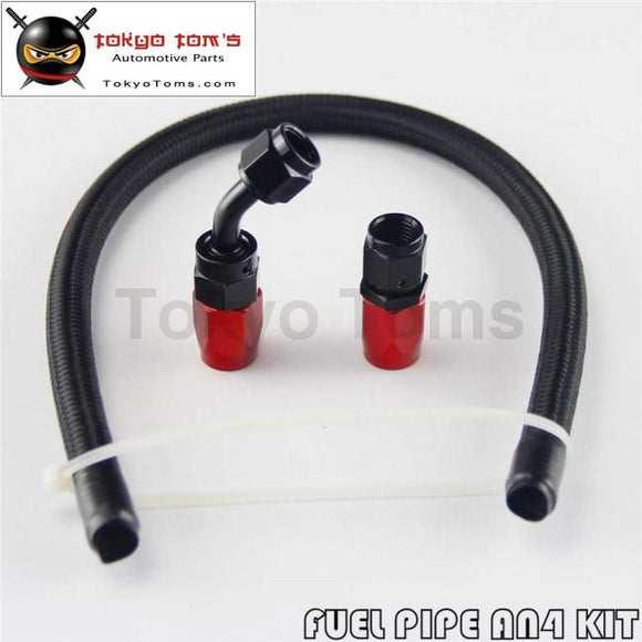 1 Foot An4 Nylon / Steel Stainless Braided Oil Fuel Hose + 45 Deg & Straight Swivel Fittings 4An