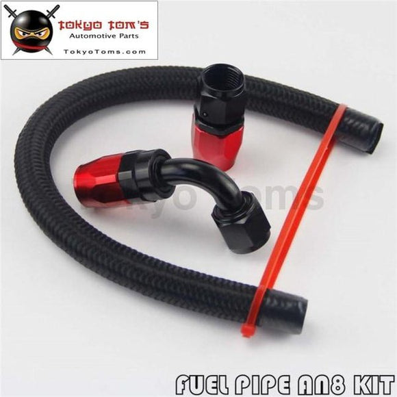1 Foot An8 Nylon/steel Braided Oil Fuel Hose + 90 Deg & Straight Swivel Fittings